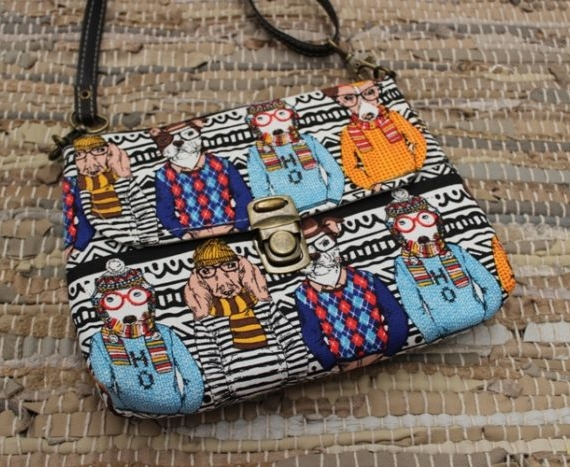 Cotton Drill Nikki Pocket Bag - Hipster Dogs