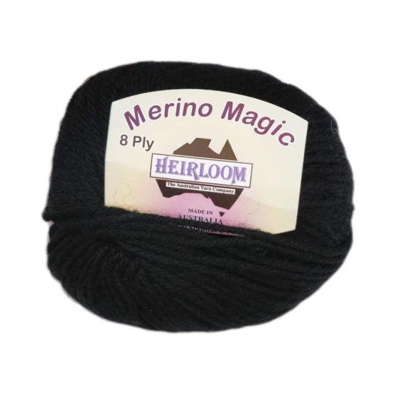 Heirloom Merino Magic 8 Ply - Black 6224