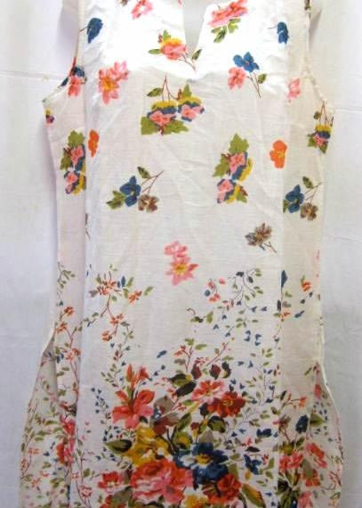 Sleeveless Cotton Tunic - Flowers