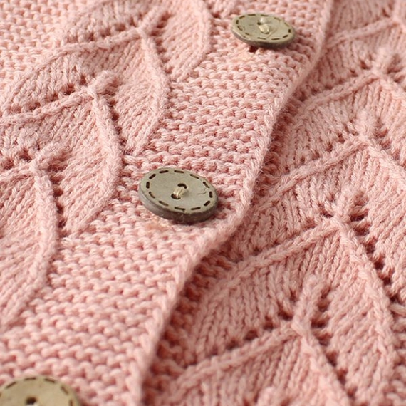 Cotton Knit Cardigan - Leaf Pattern