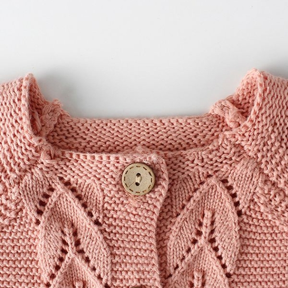 Cotton Knit Cardigan - Leaf Pattern