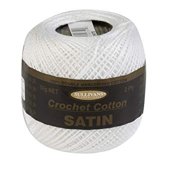 Sullivans Satin Crochet Cotton 2 ply - White