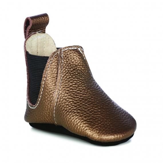 Emu Ruby Leather Baby Booties - Metallic Bronze