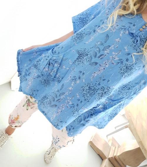Helga May Linen 3 Button Tunic - Lavender Blue