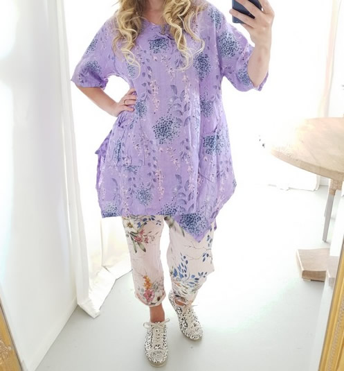 Helga May Linen 3 Button Tunic - Purple Lilac