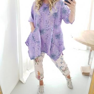 Helga May Linen 3 Button Tunic - Purple Lilac