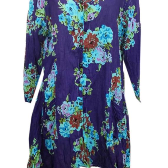 Cotton Tunic 3/4 Sleeve - Purple Flower