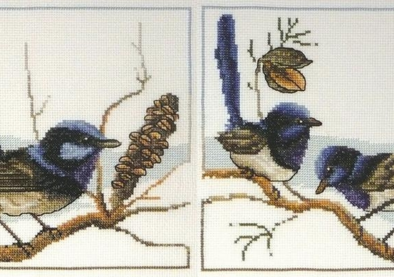 Country Threads Blue Wrens Cross Stitch Kit