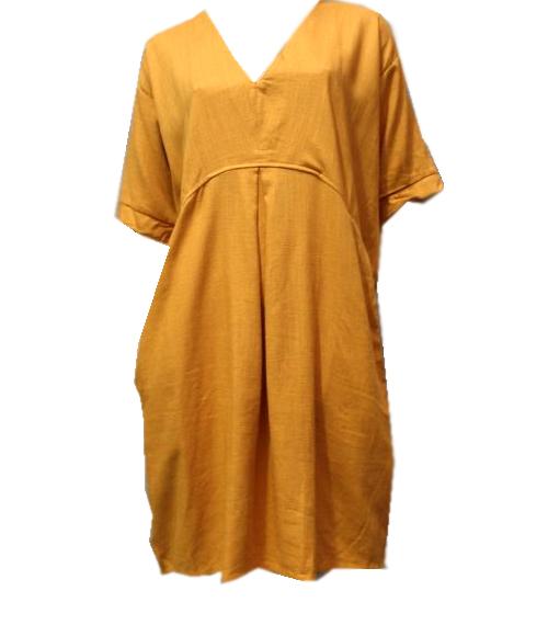 Linen & Cotton V Neck Tunic - Mustard