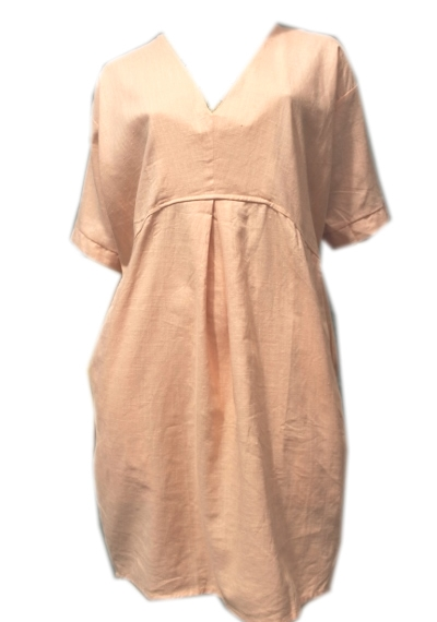 Linen & Cotton V Neck Tunic - Pink
