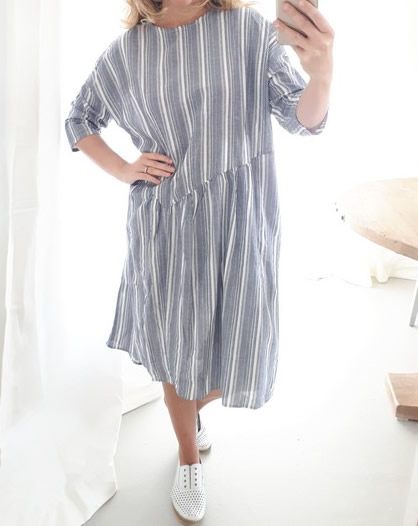Cornelia Blue Stripe Farmlet Dress