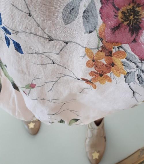 Linen Wildflower Dress - Beige