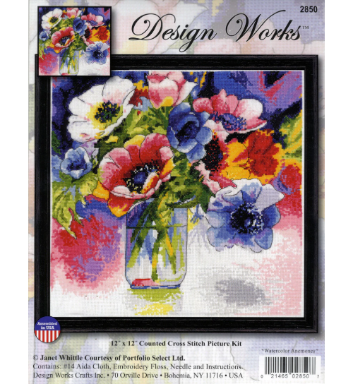 Design Works Counted Cross Stitch Kit - Watercolour Anemones