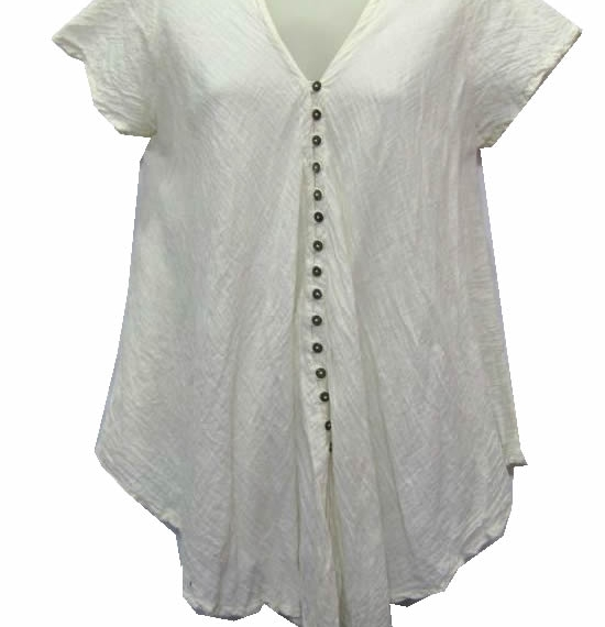 Cotton Top With Buttons Cream