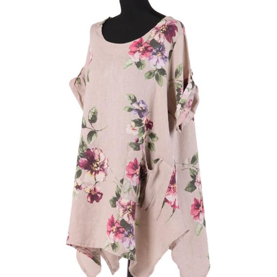 Floral Linen Tunic - Beige
