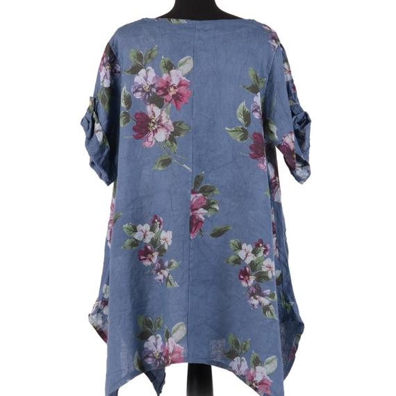 Floral Linen Tunic - Denim