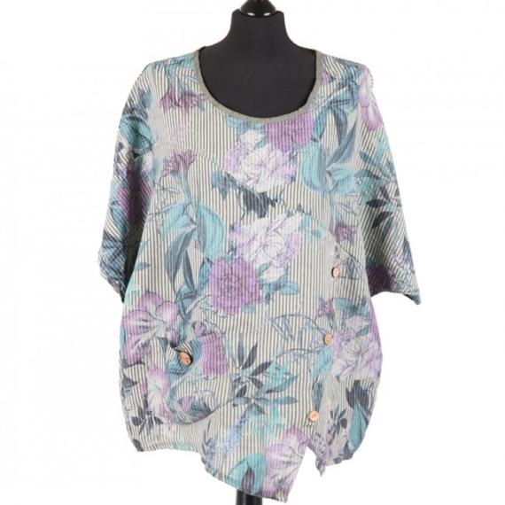 Floral Stripe Print Linen Top - Khaki