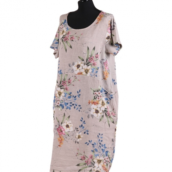 Linen Floral Print Dress - Beige
