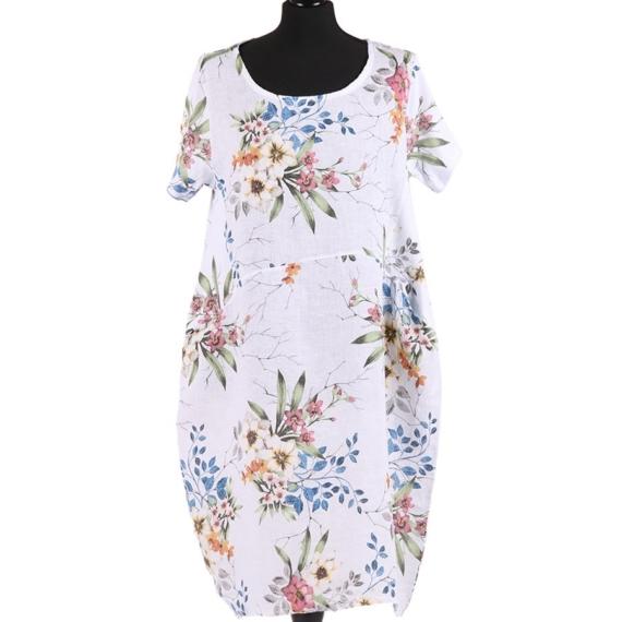 Linen Floral Print Dress - White
