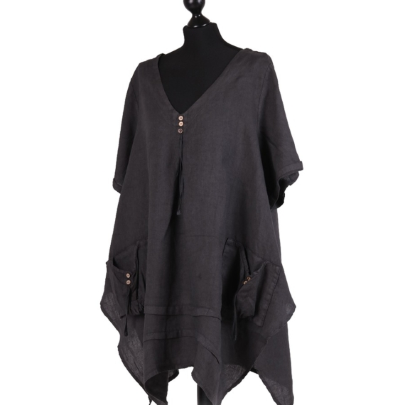 Linen Tunic With Pockets - Charcoal