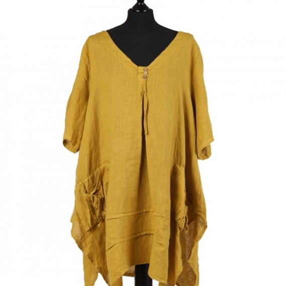Linen Tunic With Pockets - Mustard