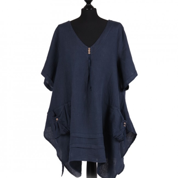 Linen Tunic With Pockets - Navy