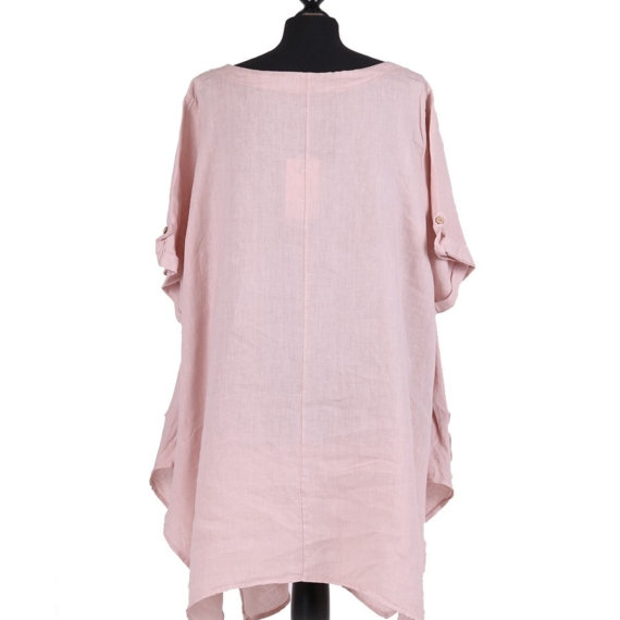 Linen Tunic With Pockets - Pink