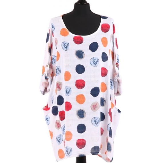 Cotton Oversized Tunic Polka dot - White Multi