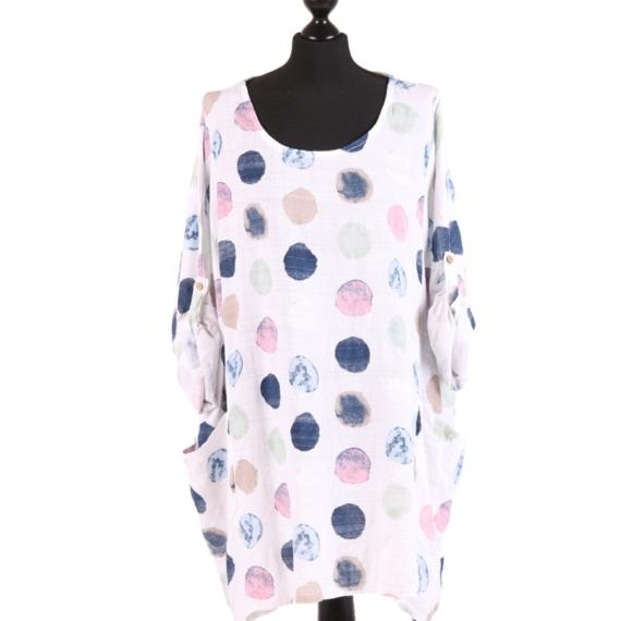 Cotton Oversized Tunic Polka dot - White