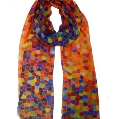 Wool & Silk Scarf - Hexagon Print