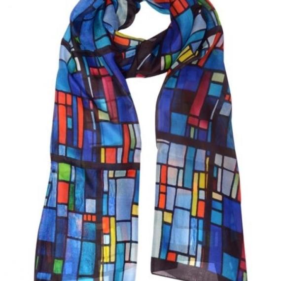 Wool & Silk Scarf - Blue Tiles