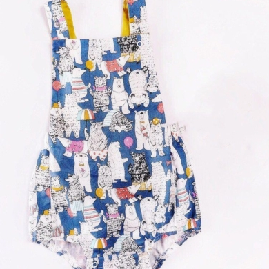 Cotton Bear Print Romper