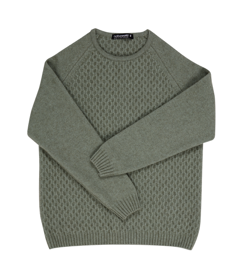 Possum Merino Aran Jumper - Sea Foam