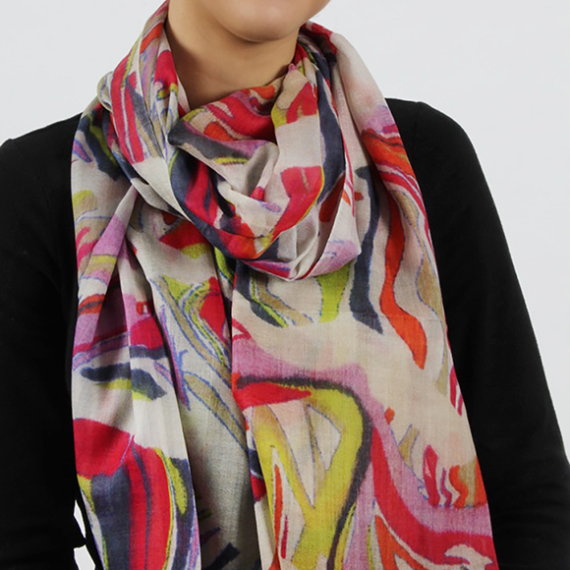 Merino Wool & Silk Scarf -Reflected Abstract