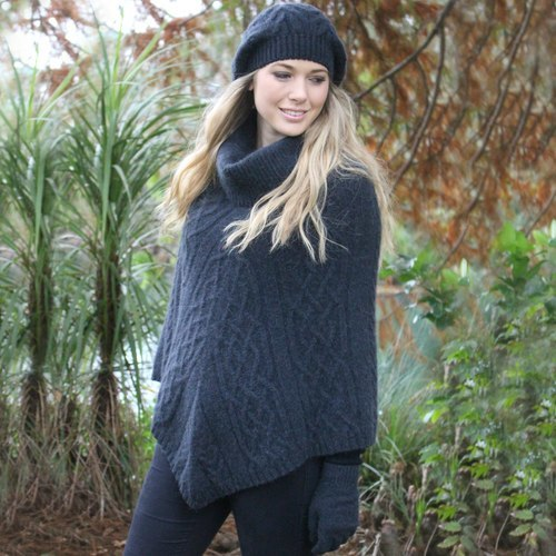 Lothlorian Baby Alpaca Cable Poncho - Charcoal