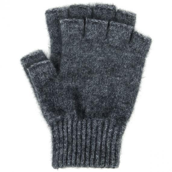 Possum Merino Fingerless Gloves Large - Charcoal, Large