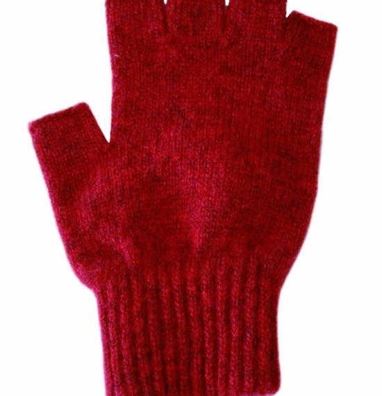 Possum Merino Fingerless Gloves Large - Red, Large