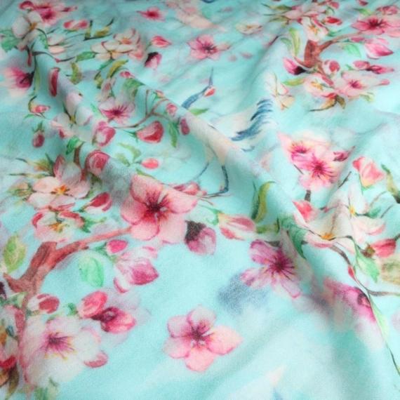 Merino & Silk Scarf - Birds & Flowers