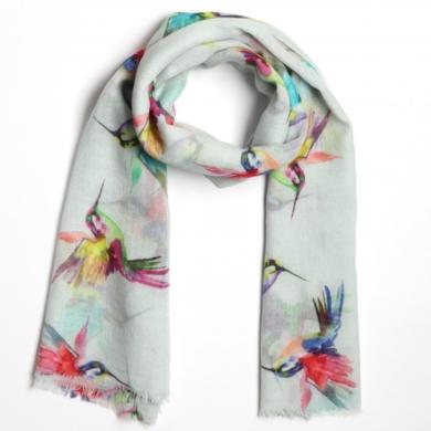 Merino & Silk Scarf - Hummingbirds