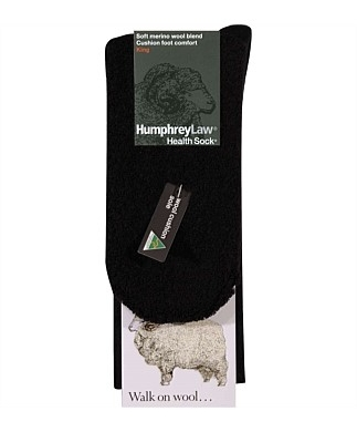 Fine Merino Cushion Sole Socks - Black , Ladies 3-8