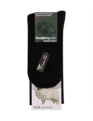 Fine Merino Cushion Sole Socks - Black , Ladies 3-8