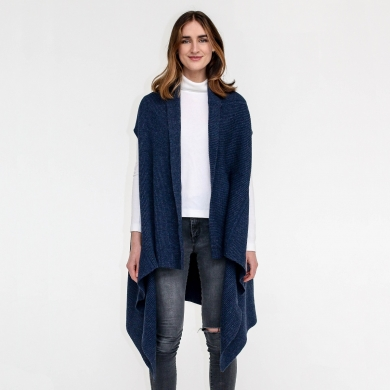 Bronnie Lambswool Waterfall Vest Navy