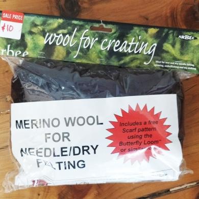 Merino Wool Roving 80g Dark Brown