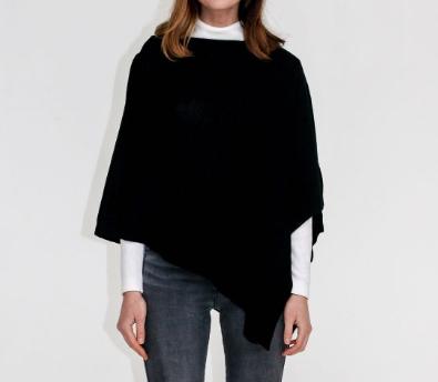 Zara Fine Merino Wool Poncho - Black