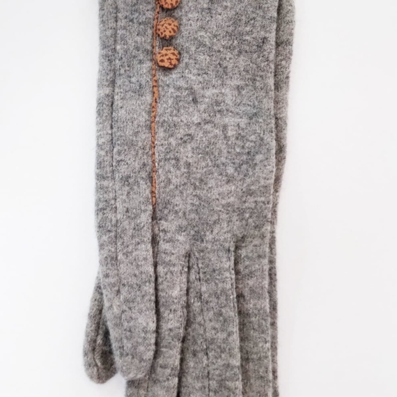 Wool Gloves With Buttons Grey - Grey