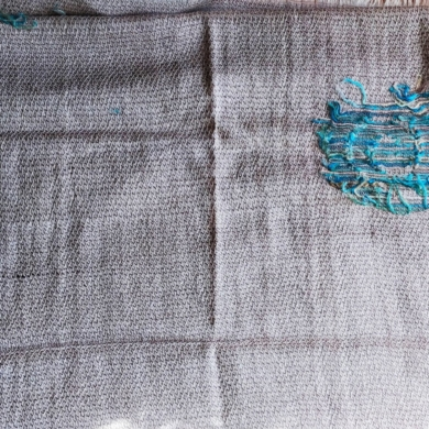 Embroidered Wool Scarf Wrap - Beige