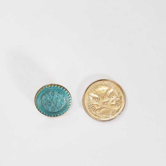 Turquoise Brass Metal Button 15mm
