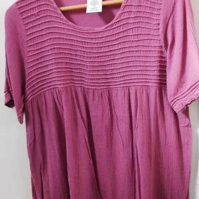 Cotton Short Sleeve Top Pink