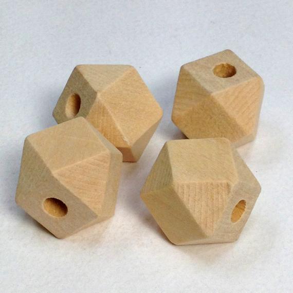 Raw Hexagon Square Wooden Beads - 4pk