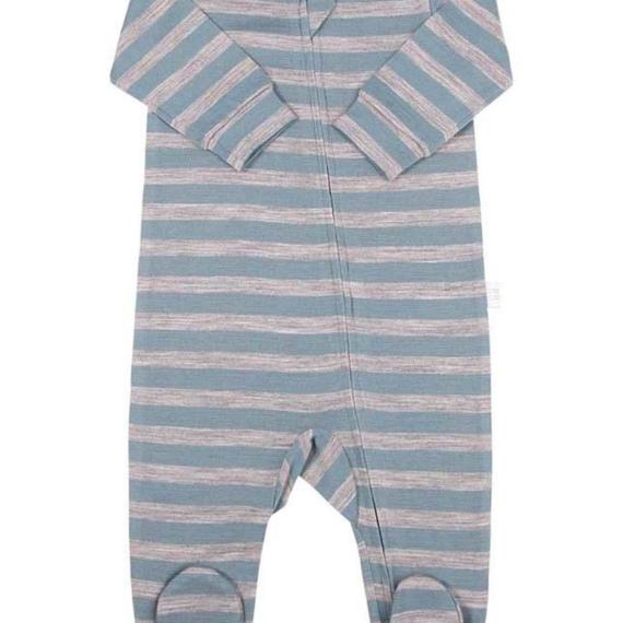 Merino Wool Baby All In One Bodysuit Green Stripe